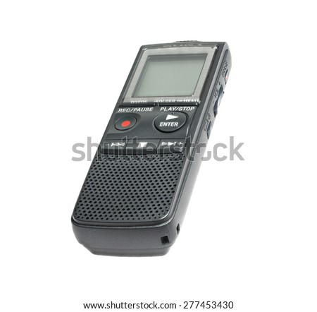 Digital dictaphone, isolated on white background, studio shot, stack shot, high depth of field - stock photo