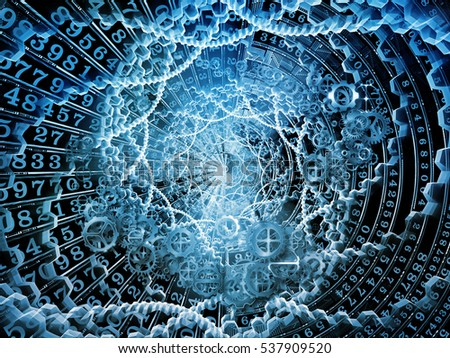Digital Disc series. Abstract design made of fractal disk and integers on the subject of virtual technology, math, science and education