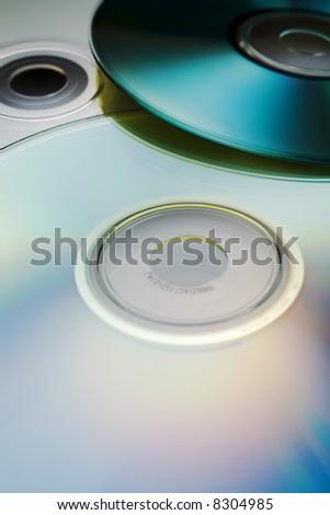 Digital discs background (cd, cd-r, dvd) - stock photo