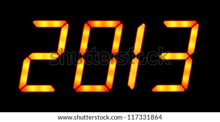 Digital display shows the date of the New Year 2013 on the black background - stock photo