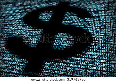 Digital dollar sign / A concept of e-commerce - stock photo