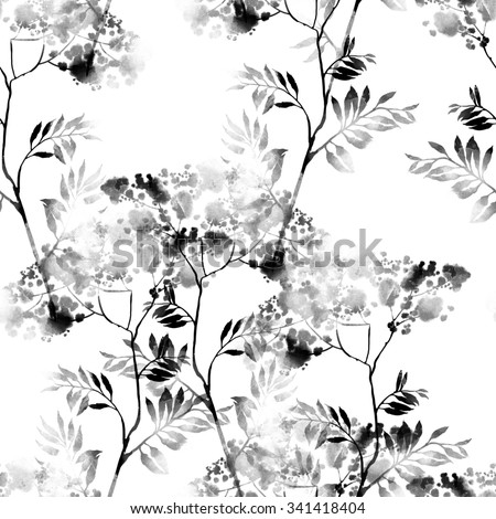 digital drawing and watercolor texture - imprint of plant - hand drawn seamless pattern - digital mixed media artwork for textiles, fabrics, souvenirs, packaging, greeting cards and scrapbooking - stock photo