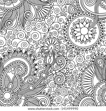 digital drawing black and white ornate seamless flower paisley design background, raster version - stock photo