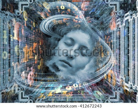 Digital Dreams series. Abstract design made of human face and digital structures on the subject of mind, thought, dream, science and education