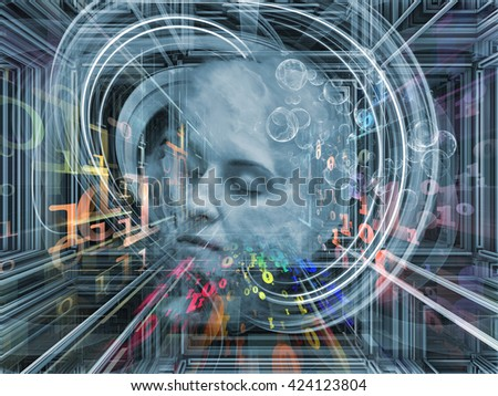 Digital Dreams series. Arrangement of human face and digital structures on the subject of mind, thought, dream, science and education - stock photo