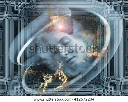 Digital Dreams series. Composition of human face and digital structures on the subject of mind, thought, dream, science and education