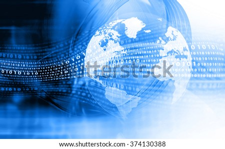 Digital earth. Hi-tech technological background - stock photo