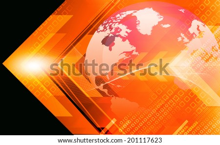Digital earth  on abstract arrows background