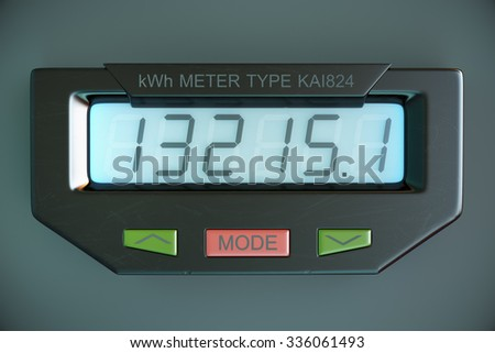 Digital electricity meter showing household consumption in kilowatt hours. Electric power usage.