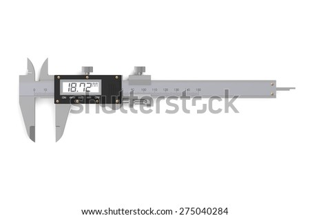 digital electronic vernier caliper isolated on  white background - stock photo