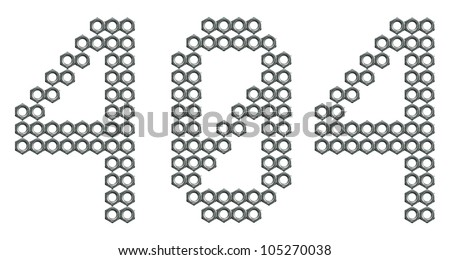 Digital 404 error code composed of screw nuts isolated on while background - stock photo
