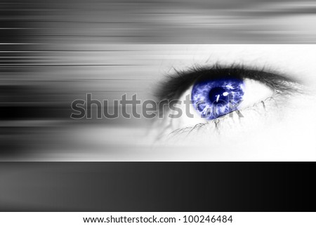 Digital eye in a future vision - stock photo