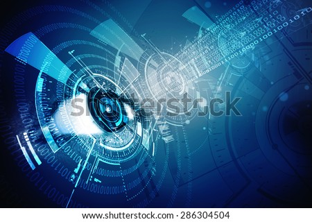 digital eye with security scanning concept - stock photo