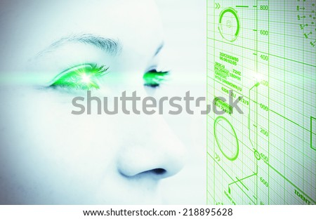 Digital face - stock photo