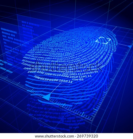 Digital fingerprint identification system. . RGB. Organized by layers. Global colors. Gradients used. - stock photo