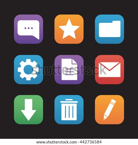 Digital flat design icons set. Mobile application user interface. Chat bubble, rating star, new document and folder symbols. File manager app buttons. Email letter and download arrow. Raster ui
