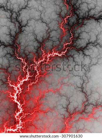 Digital fractal of electric red lightning storm, hot electrical background. - stock photo