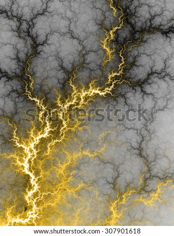 Digital fractal of electric yellow lightning storm, hot electrical background. - stock photo