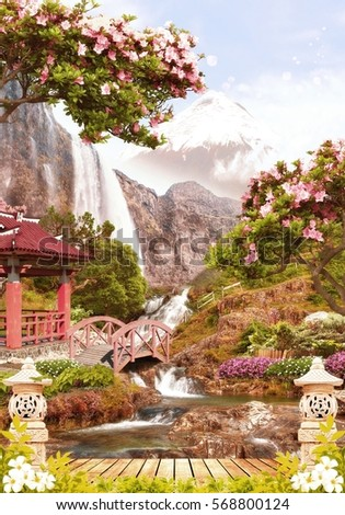 japan garden - Beautiful Flower Gardens Waterfalls