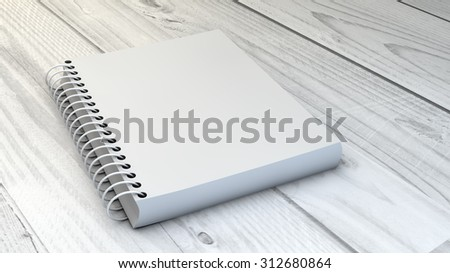 digital generated blank notebook over wooden background - stock photo
