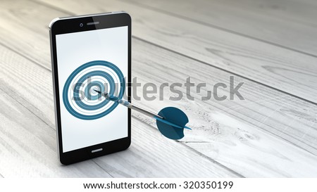 digital generated Mobile marketing and targeting. Smartphone with dartboard in the screen.