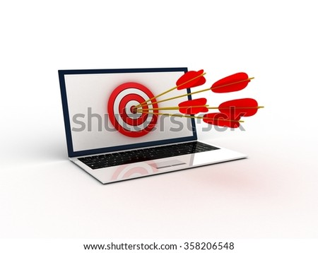 Digital generated target computer over white background