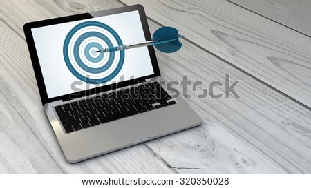 digital generated target computer over wooden table. Screen graphics are made up. - stock photo