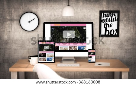 digital generated workplace desktop with  digital tablet, computer, laptop and various office objects video streaming responsive website on screen. All screen graphics are made up. 3d illustration. - stock photo