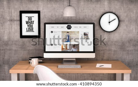 digital generated workspace desktop with male fashion blog on screen computer. All screen graphics are made up. 3D generated. - stock photo