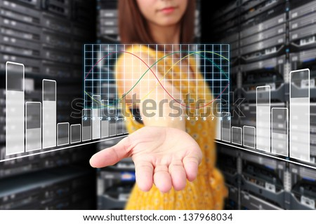 Digital graph for monitor system - stock photo