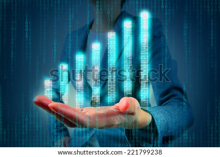Digital graph on hand - stock photo