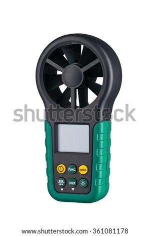 Digital handheld anemometer 3/4 view isolated on white background - stock photo