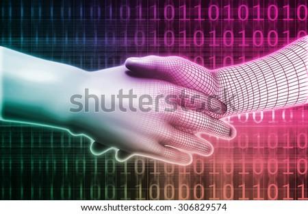 Digital Handshake Between Man and Machine Technology - stock photo