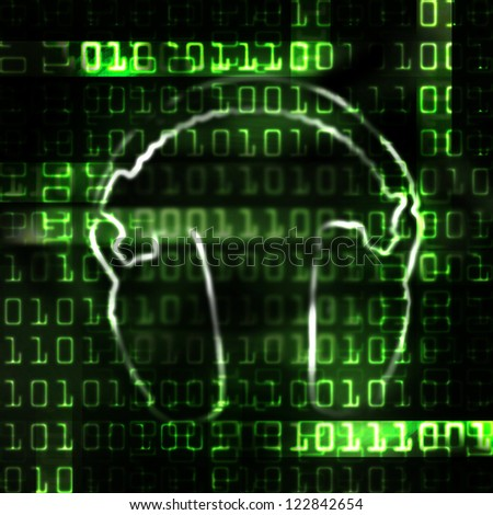digital headphones and binary code techno abstract illustration - stock photo