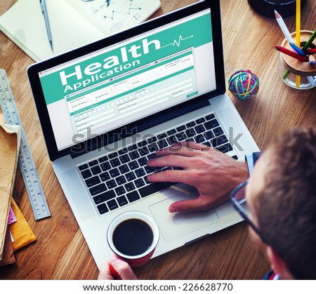 Digital Health Insurance Application Form Concept - stock photo