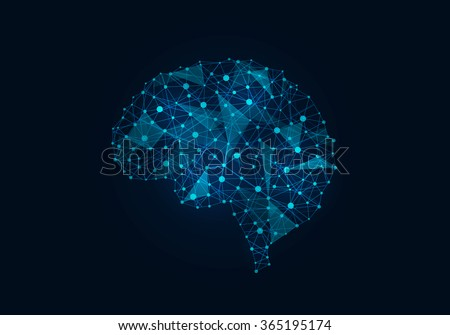 Digital human brain - stock photo