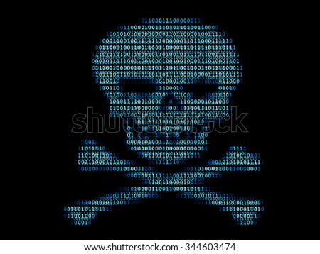 Digital human skull / Concept of network security or computer virus