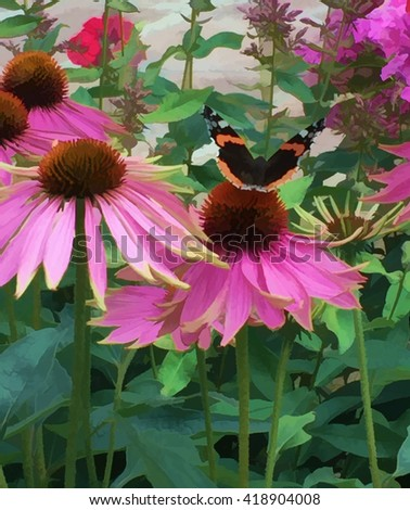 Digital illustration - butterfly and flower, Nature spring daisy flower with butterfly, Beautiful flowers and butterfly, Monarch butterfly on the flower, Natural background. pink flower and butterfly - stock photo