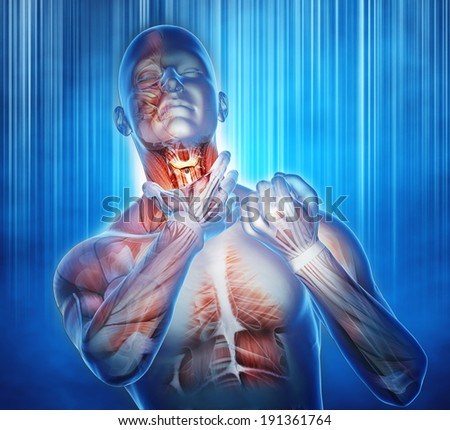 digital illustration colds and sore throat, anatomical vision - stock photo