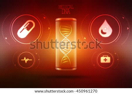 Digital illustration DNA structure , 2d rendering - stock photo
