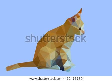 Digital illustration - Low Poly Cat. Triangle polygonal stile siamese kitten. Flat design creative illustration. Low poly style cat, modern polydonal design. Low poly cat design on blue background. - stock photo