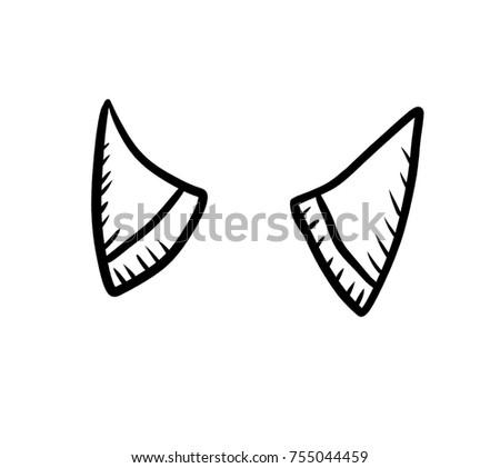 Digital Illustration Od Devil Horns Doodle Stock Illustration