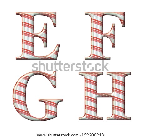 Digital illustration of a candy cane alphabet: Letters E, F, G, H - stock photo