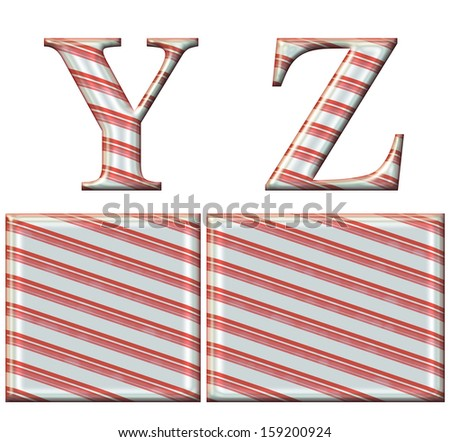 Digital illustration of a candy cane alphabet: Letters Y, Z - stock photo