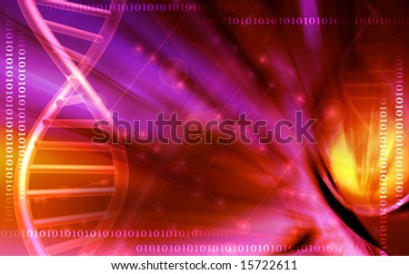 Digital illustration of a DNA model background	 - stock photo