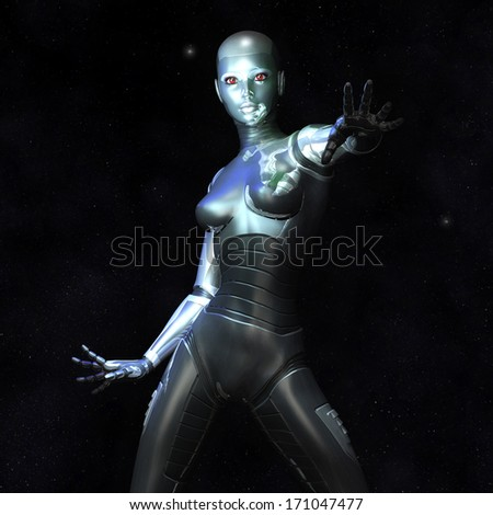 Digital Illustration of a female Cyborg