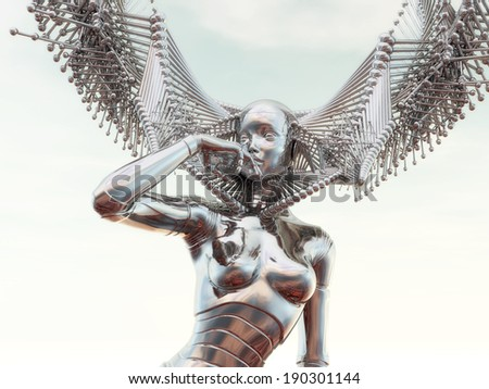 Digital Illustration of a female Cyborg - stock photo