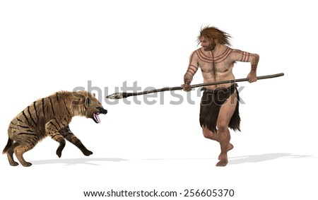Digital illustration of a fight between a cave hyena and a neanderthal
