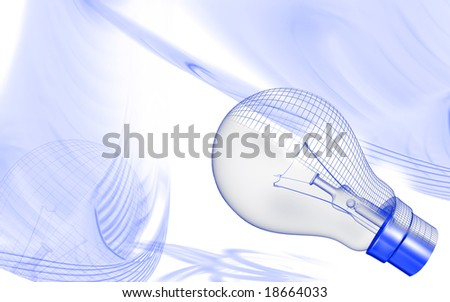 Digital illustration of a filament in a bulb