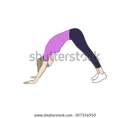 Digital illustration of a fitness woman doing dog pose - stock photo